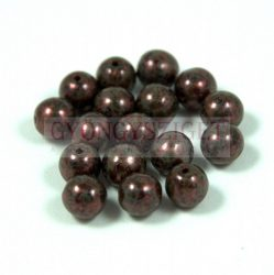 Czech Pressed Round Glass Bead - bronze - 6mm