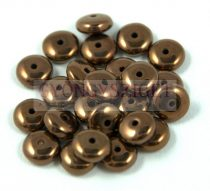 Lentil - Czech Glass bead - dark bronze -6mm