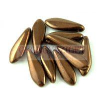 Lándzsa (szirom) cseh préselt üveggyöngy - Dark Bronze - 5x16mm