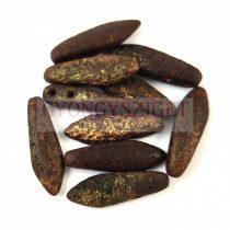 Lándzsa (szirom) cseh préselt üveggyöngy két lyukkal - Bronze Etched - 5x16mm