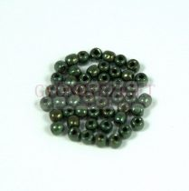 Cseh préselt golyó gyöngy - metallic green - 2mm
