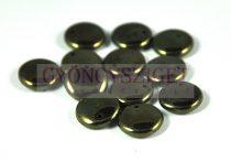 Lentil with Asymetrical Hole - Czech Glass Bead - metallic green - 12mm