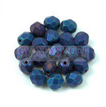 Cseh csiszolt golyó gyöngy -  Matte Black Blue Iris - 6mm