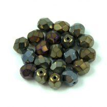 Cseh csiszolt golyó gyöngy - iris bronze - 6mm