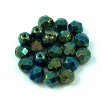 Cseh csiszolt golyó gyöngy - metál zöld irisz-6mm