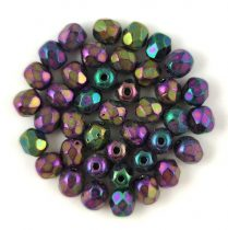 Czech Firepolished Round Glass Bead - metallic purple iris-3mm