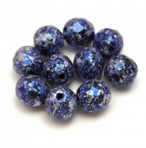 Czech Firepolished Round Glass Bead - Tweedy Blue - 8mm