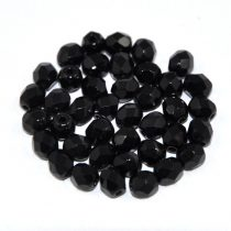 Czech Firepolished Round Glass Bead - jet-6mm