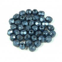 Cseh csiszolt golyó gyöngy - fekete márványos  metál kék patina-4mm