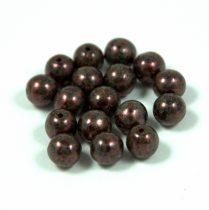 Préselt golyó gyöngy-  zöld márványos sötét bronz-6mm