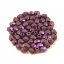 Czech Firepolished Round Glass Bead - mattee metallic purple - 3mm