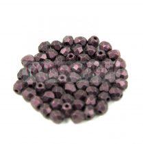 Cseh csiszolt golyó gyöngy - matte metallic purple - 3mm