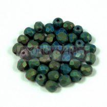 Cseh csiszolt golyó gyöngy - matt metál zöld írisz - 4mm