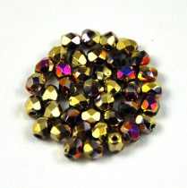 Czech Firepolished Round Glass Bead - crystal California violet - 3mm
