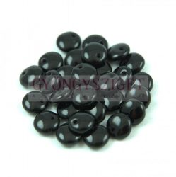 Lentil with Asymetrical Hole - Czech Glass Bead-opaque black-6mm