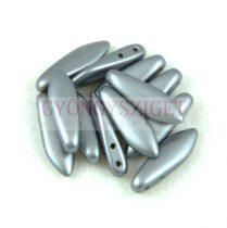 Cseh kétlyukú virágszirom (dagger) gyöngy - Pastel Silver - 5x16mm