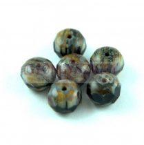 Donut - Czech Firepolished Faceted Bead - 6x9mm - Brown Grey Picasso