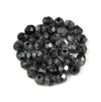Cseh csiszolt golyó gyöngy - szürke-fekete márvány-4mm
