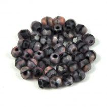Cseh csiszolt golyó gyöngy - rózsaszín-fekete-kristály márvány-6mm