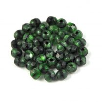 Cseh csiszolt golyó gyöngy - zöld-fekete márvány-4mm