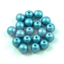 Préselt golyó gyöngy- Matt Metallic Blue Turquoise - 6mm
