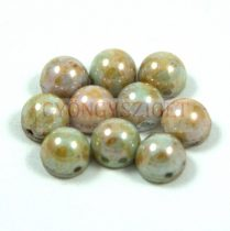 Czech Mates kétlyukú kaboson  - Green Lustered Brown marble - 7mm