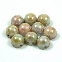 Czech Mates kétlyukú kaboson  - Green Lustered Brown marble - 7mm