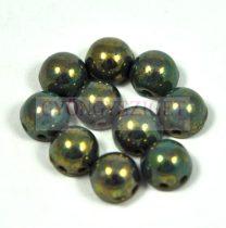 Czech Mates kétlyukú kaboson  - Persian Turquoise Bronze Picasso - 7mm