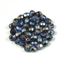 Cseh csiszolt golyó gyöngy - világos zafír kék hematit-4mm
