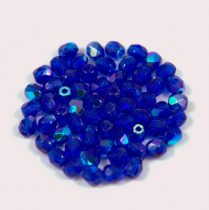 Czech Firepolished Round Glass Bead - sapphire ab-3mm