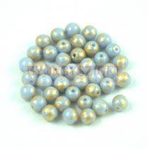 Cseh préselt golyó gyöngy - Opaque Light Sapphire Gold Patina - 4mm