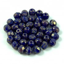 Czech Firepolished Round Glass Bead - sapphire bronze luster - 4mm