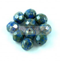 Cseh csiszolt golyó gyöngy - Sapphire Picasso -8mm