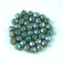 Cseh csiszolt golyó gyöngy - Light Sapphire Picasso - 4mm
