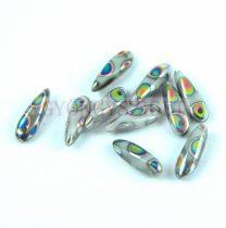 Lándzsa (szirom) cseh préselt üveggyöngy - Opaque Gray Peacock - 3x11mm