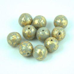 Cseh préselt golyó - Opaque Gray Gold Patina - 8mm