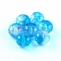 Donut - Czech Firepolished Faceted Bead - 6x9mm - Crystal Aqua AB Luster