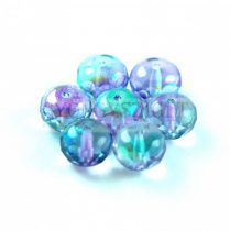 Donut - Czech Firepolished Faceted Bead - 6x9mm - Crystal Vitrail Light