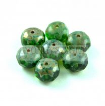 Donut - Czech Firepolished Faceted Bead - 6x9mm - Dark Green Picasso