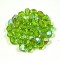 Czech Firepolished Round Glass Bead - Light Olive  AB - 3mm