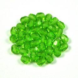 Cseh csiszolt golyó gyöngy - peridot zöld-4mm