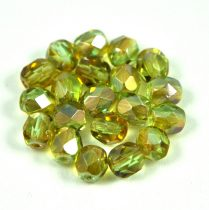Czech Firepolished Round Glass Bead - light green topaz rainbow luster-6mm