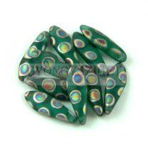 Lándzsa (szirom) cseh préselt üveggyöngy - Emerald Vitrail Peacock - 5x16mm