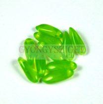 Lándzsa (szirom) cseh préselt üveggyöngy - zöld opál - 3x11mm