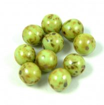 Cseh préselt golyó gyöngy -  világos oliva picasso - 8mm