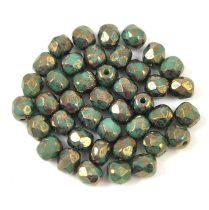 Cseh csiszolt golyó gyöngy - Opaque Green Terracotta Bronze - 4mm