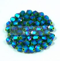 Swarovski bicone 4mm - dark moss green ab 2x
