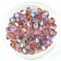 Swarovski bicone 4mm - light rose ab satin