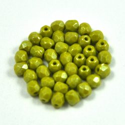 Czech Firepolished Round Glass Bead - opaque luster olivagreen-4mm