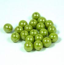 Cseh préselt golyó gyöngy - lüszteres világos oliva -6mm